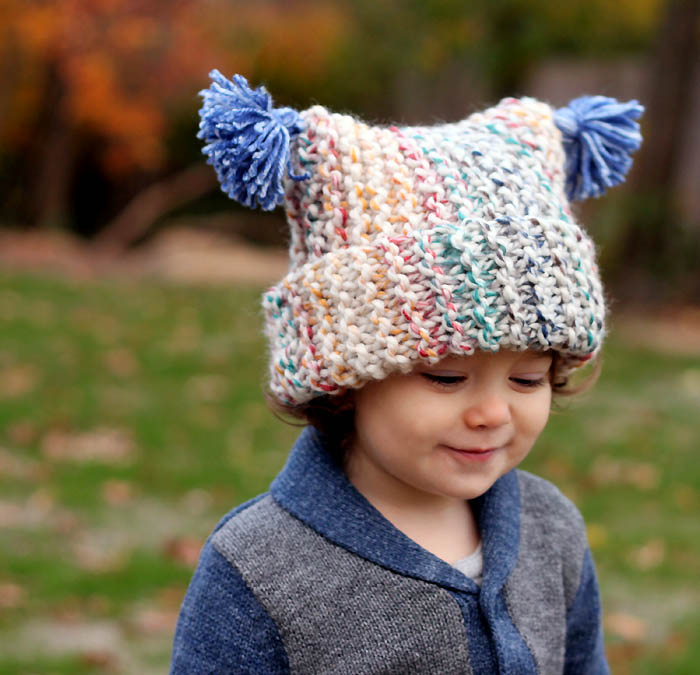 Flat Knitting Patterns : Flat Knit Garter Stitch Hat Knitting Pattern- Super Easy! - Gina Michele