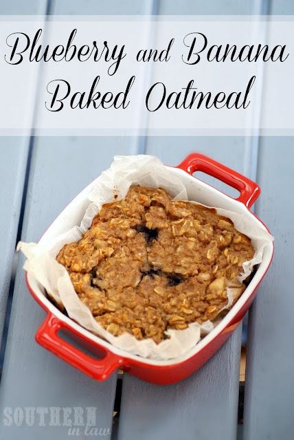 Blueberry and Banana Baked Oatmeal - Vegan, Healthy, Low Fat, Gluten Free