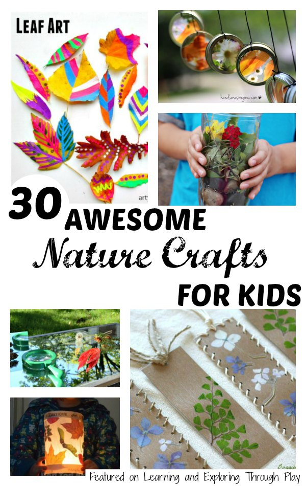 Learning and exploring through play 30 nature crafts for kids for Nature crafts for kids