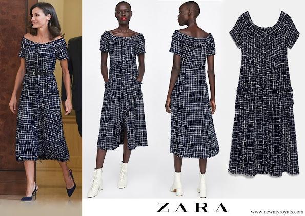 Queen Letizia wore Zara tweed dress with gem buttons  (19.99 EUR)