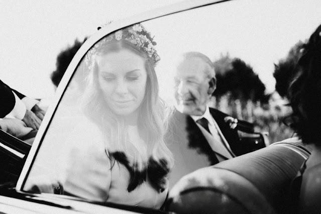 novia coche epoca