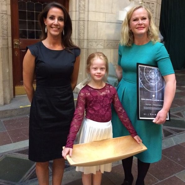 Princess Marie wore Prada dress and Hugo Boss Katniss dress, Salvatore Ferragamo res suade shoes