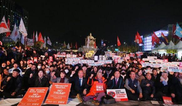 Protestan en Corea del Sur como rechazo a visita de Trump