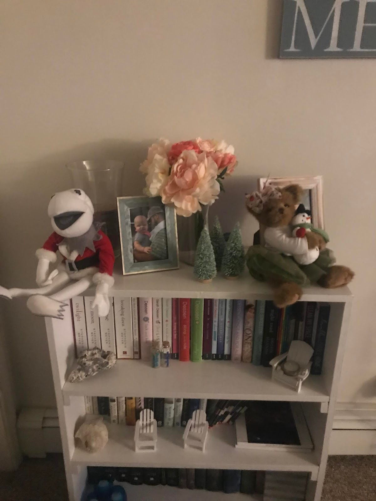 On My Bookshelf I Have Kermit And Teddy Bear Which Are Both Gifts From Years Ago Newest Additions The Little Trees Target Dollar Spot