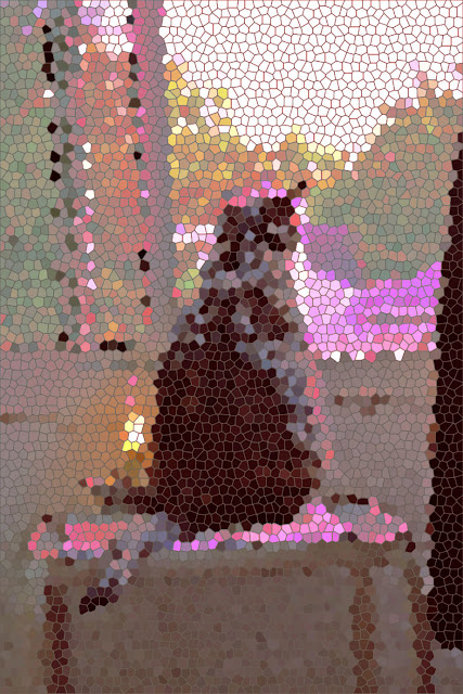 Picture of cat looking out a window, with mosaic effect