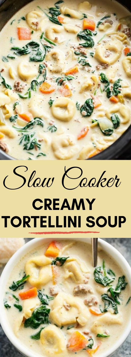 SLOW COOKER CREAMY TORTELLINI SOUP #soup #vegan