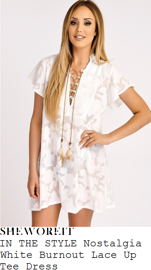 charlotte-crosby-in-the-style-nostalgia-bright-white-and-tan-semi-sheer-burnout-floral-print-short-sleeve-plunge-front-lace-up-feather-detail-relaxed-fit-t-shirt-mini-dress