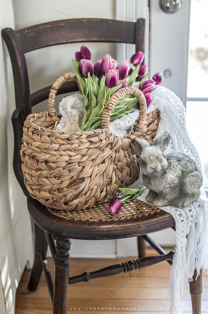 Spring vignette on chair