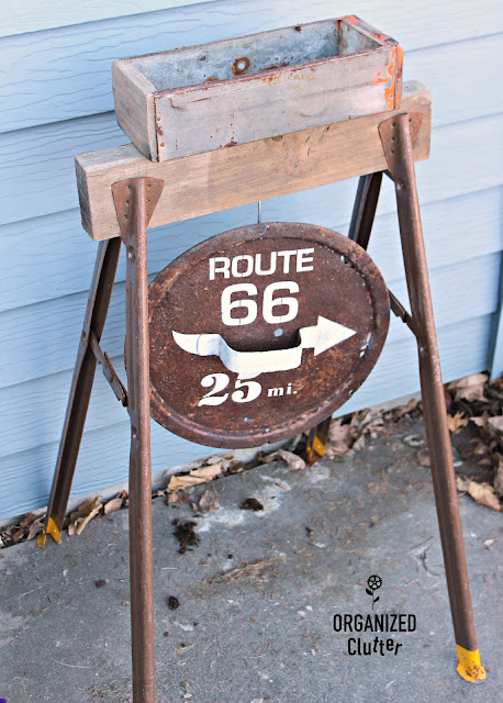 Rummage Sale Saw Horse/Rusty Cover Route 66 Sign Planter