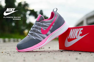 Sepatu Nike Free Flyknit Women Grey Pink