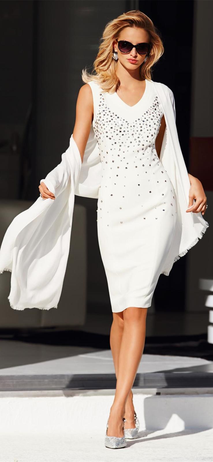MADELEINE WHITE EMBELLISHED DRESS