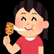 チーズドッグを食べる人のイラスト