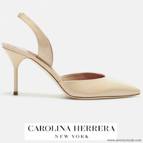 Queen Letizia wore Carolina Herrera nude patent leather slingback pumps