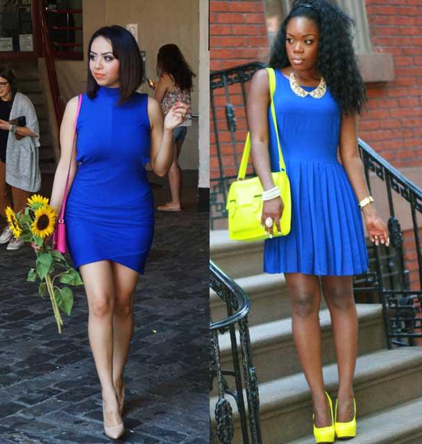 zapato amarillo vestido azul