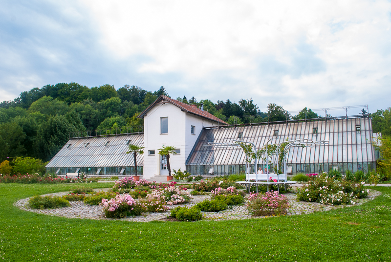 A glass house in the park of ljubljana, slovenia