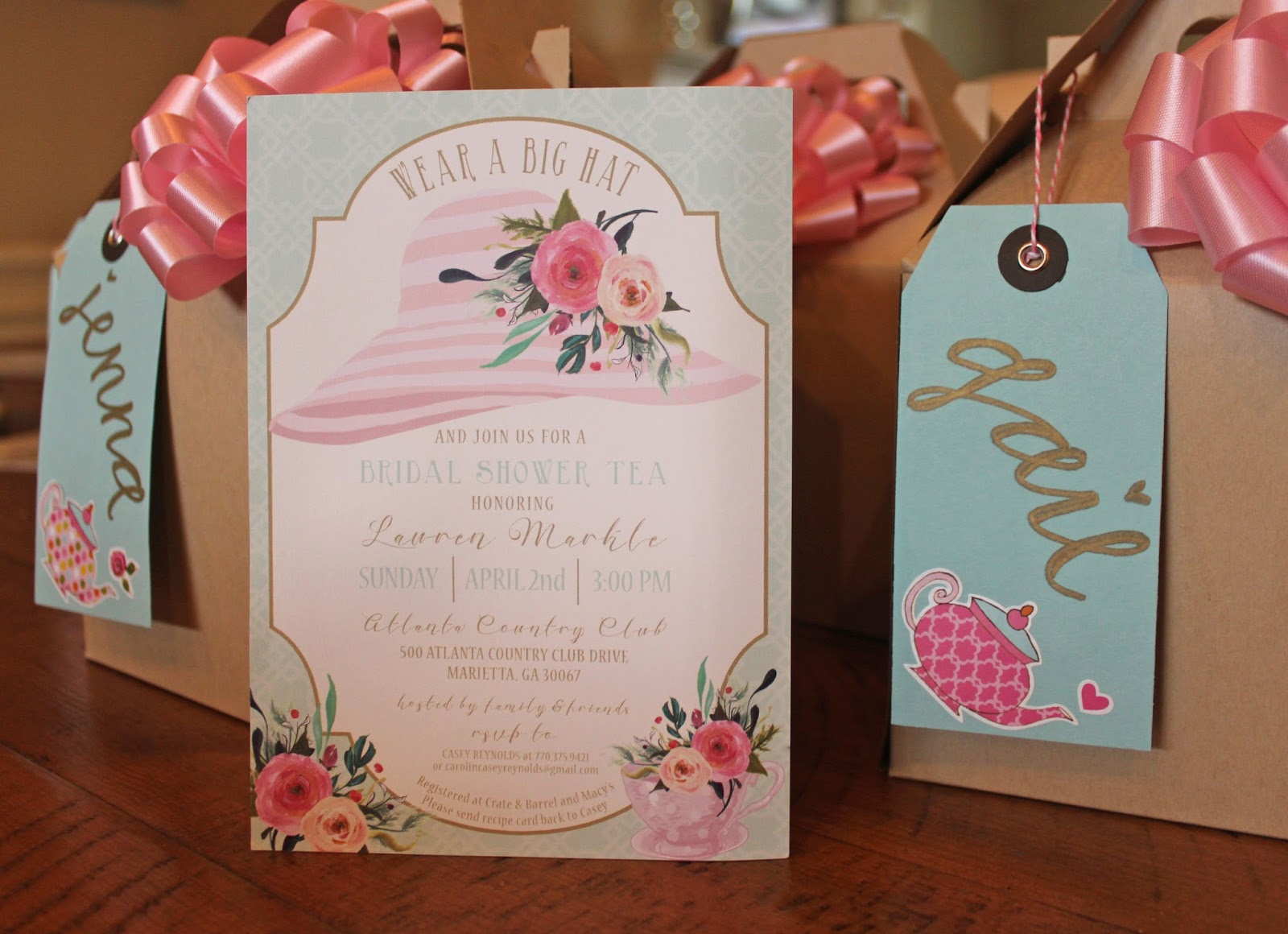 lauren alford design tea party bridal shower hostess gifts