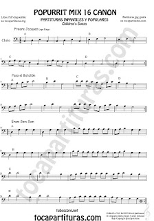 Partitura de Violonchelo (Chelo) Popurrí Mix 16 Partituras de Freere Jacques, Pasa el Batallón, Eram Sam Sam Sheet Music for Cello Music Scores