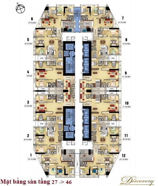 Mặt bằng sàn tầng 27 đến 46