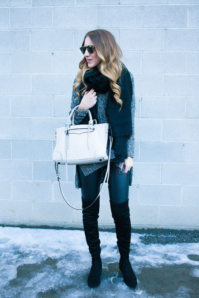 Monochromatic Winter Wear - Faux Leather Leggings and OTK Boots