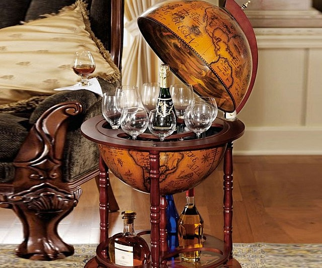 Bring a touch of sophistication to your man cave by storing your hooch inside this sixteenth century globe bar. The hollowed out inside of this 22″ diameter globe comes hand painted with lovely frescos while the exterior displays an antique 16th century nautical map.
