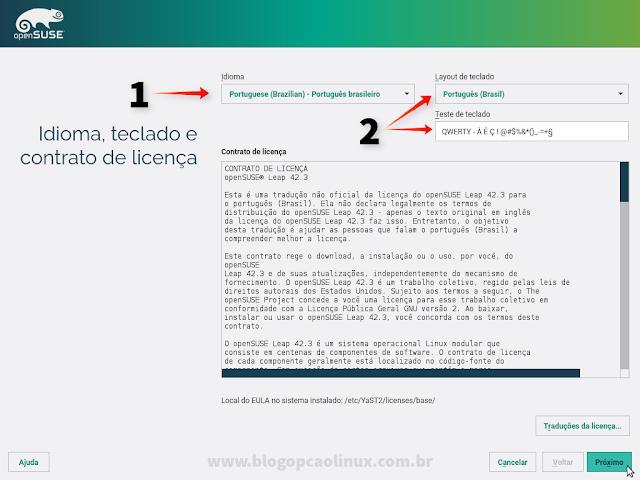Escolha o seu idioma, o layout do teclado e leia o Contrato de Licença do openSUSE