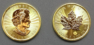 Pièce d'or canadienne en feuille
