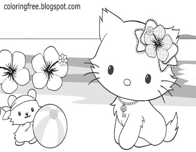 Flower head dress Hello kitty coloring image free cat on beach cute printables for teenage girls art