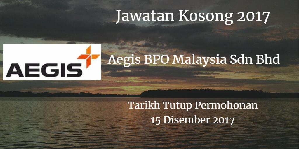 Jawatan Kosong Aegis BPO Malaysia Sdn Bhd 15 Disember 2017