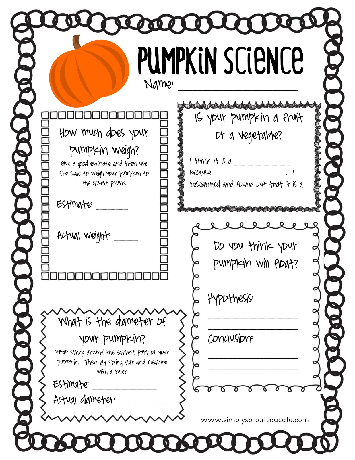 science pumpkin printable fun halloween grade activities activity 1st pumpkins lessons preschool classroom experiment experiments math elementary sprout simply teaching