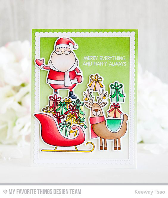 Handmade card from Keeway Tsao featuring Merry Everything stamp set and Die-namics, and Stitched Rectangle Scallop Edge Frames Die-namics #mftstamps