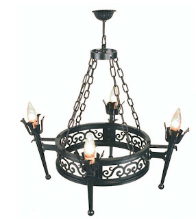 lampara forja 4 brazos, lampara antigua, lampara rustica, lampara techo