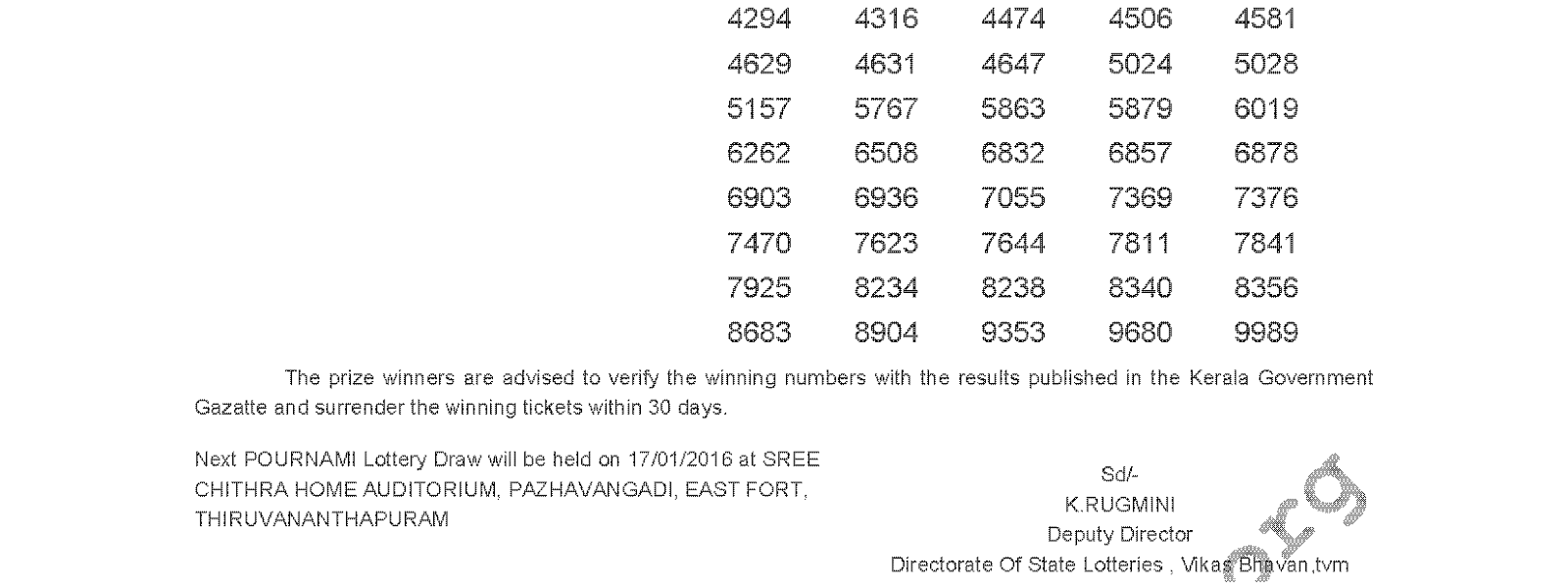 POURNAMI Lottery RN 219 Result 10-01-2016