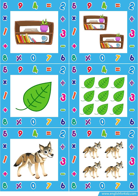 Printable flashcards for kids learning English to practise singular and plural nouns