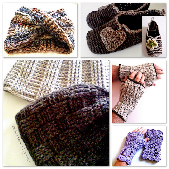 crochet patterns, hats, mittens, slippers, scarf, mobius,