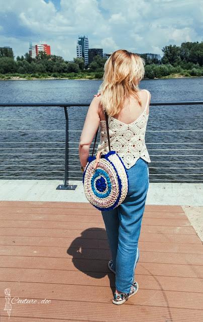 szydełkowy top, lato boho, circle basket bag, torba koszyk, handmade