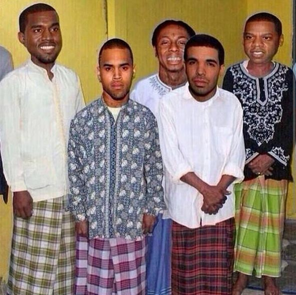 Photoshop of Kanye West, Drake, others dressed up in Nigerian wrapper goes viral