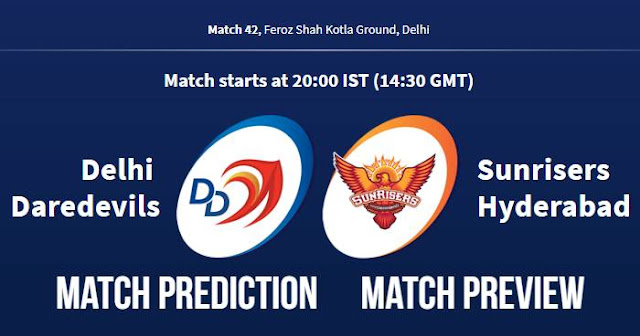 IPL 2018 Match 42 DD vs SRH Match Prediction, Preview and Head to Head Who Will Win