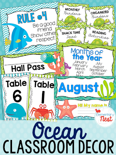 Ocean Themed- Classroom Decor Collection to transform your classroom- pick a scheme or a theme to make your classroom decorated and organized