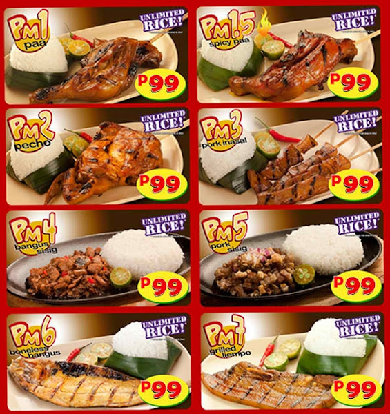 Items of Mang Inasal menu