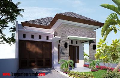 desain teras rumah minialis type 45 dengan batu alam