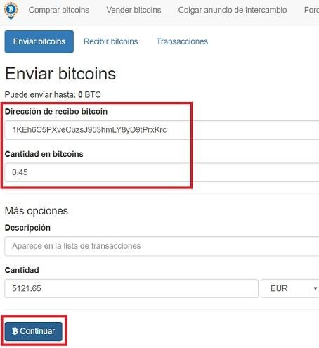 enviar bitcoin desde localbitcoin a exchange o wallet