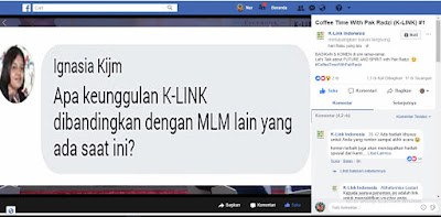 pertanyaan di live streaming FB K-Link Indonesia