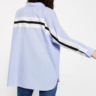 Zara oversized shirt in light blue with black stripe detail