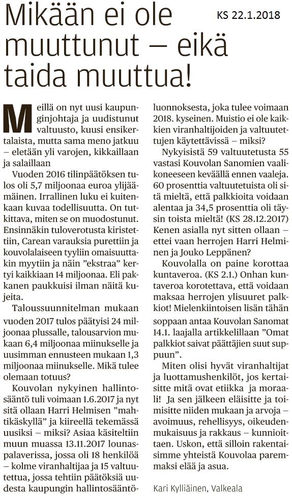 KoSa 22.1.2018 Kari Kylliäisen mielipidekirjoitus (Pekka Korpivaaran blogi)