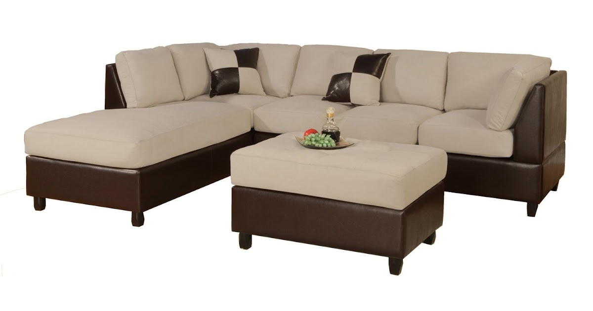 Microfiber and leather sectional sleeper sofa with chaise for Black microfiber chaise