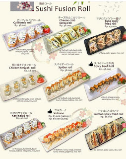 Menu sushi fushion roll halal di Malang