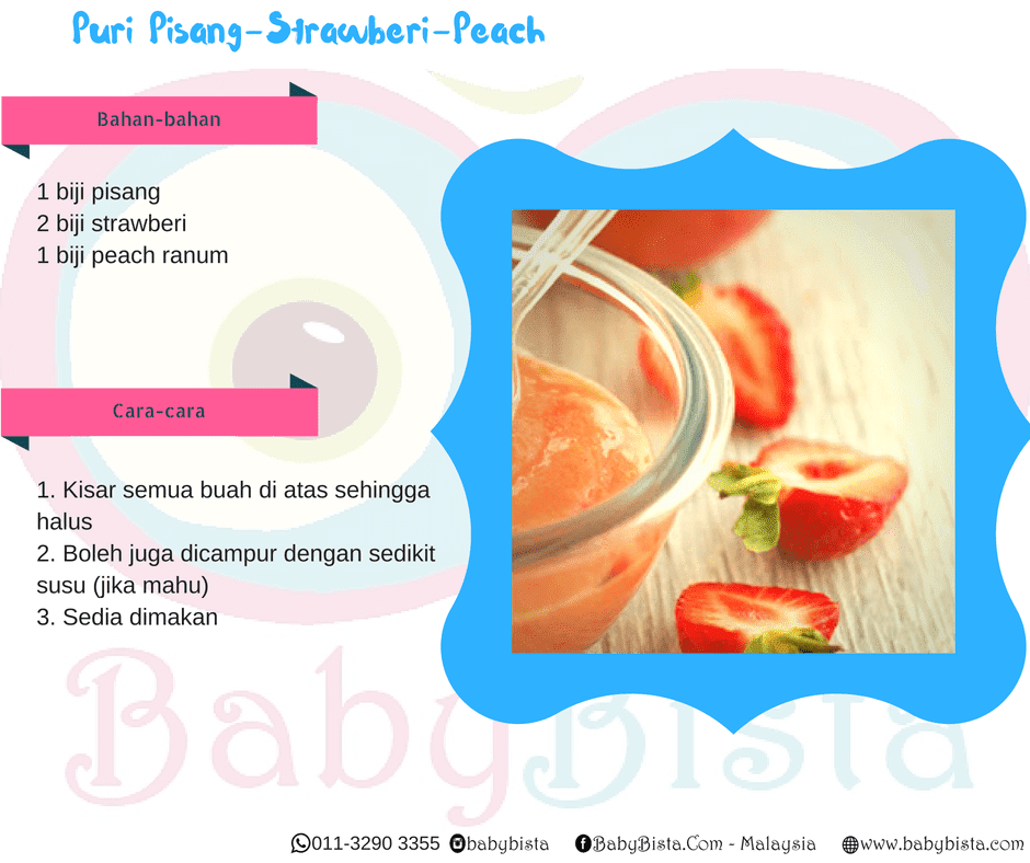 resepi puri pisang strawberi peach