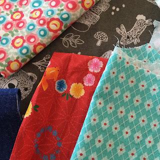 Kimono Daisy cotton fabric scraps plus more