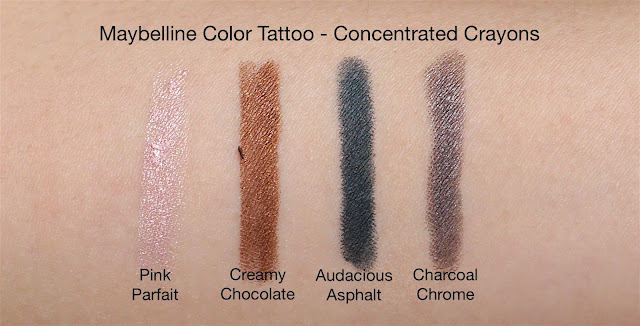 Maybelline Color Tattoo Concentrated Crayon Pink Parfait, Creamy Chocolate, Audacious Asphalt and Charcoal Chrome Swatches