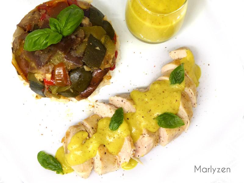Filets de poulet, sauce au curry (cuisson à basse température)